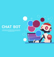 chat bot using laptop computer robot virtual vector image