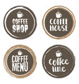 coffe menu letters and cup grunge circle set vector image