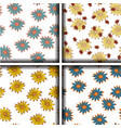 set of seamless patterns with sunflowers vector image