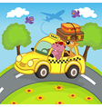 animals traveling in taxi vector image