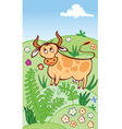 cute cow grazing in a meadow vector image vector image