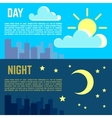 Day and night banners flat sun moon symbols vector image