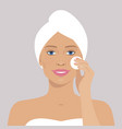 beautiful woman with cotton pad vector image