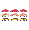 set of economy car in red yellow orange colors vector image