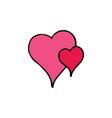two hearts cartoon icon vector image