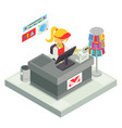 cashier seller cashbox isometric shop stall vector image