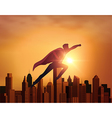 Business Superhero with city vector image