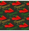 Red hot chili pepper seamless pattern on dark vector image