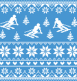 Winter knit pattern - man skiing on blue vector image
