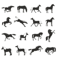 Horse Breeds Silhoettes Black Icons Set vector image