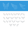 Font letters thin lines logo with wings vector image