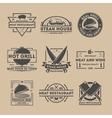 Steak house vintage isolated label set vector image