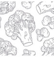 hand drawn seamless pattern with broccoli vector image vector image