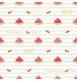 Hello august seamless pattern with watermelon vector image