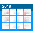 American calendar 2018 week starts on sunday vector image