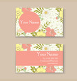 business card with floral background vector image