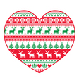 Christmas card - red and green nordic pattern vector image