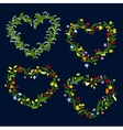 Heart shaped spring or summer wreaths vector image vector image