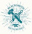 Blacksmith Label with vintage sun burst Crossed vector image