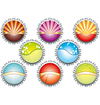 A of metal bottle tops in various colours w vector image