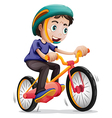 A young boy riding a bicycle vector image