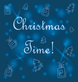 blue background with Christmas trees and gifts vector image