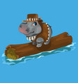 Hippopotamus hunter swimming a river on a log vector image