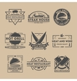 Steak house vintage isolated label set vector image