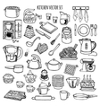 Kitchen utensils and appliance icons set vector image