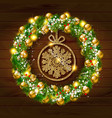 christmas wreath with balls with snowflake inside vector image