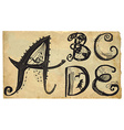 curly playful alphabet - hand drawn - part A-E vector image