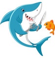 cute shark cartoon ready to eat little fish vector image