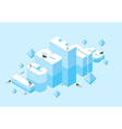 Iceberg 3D letters of ice Icy letters typography vector image