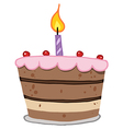 Birthday Cake With One Candle Lit vector image