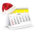 June 2015 desk calendar with Christmas hat vector image vector image