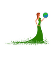 fashion lady with globe vector image vector image