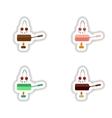 Set stylish paper stickers cherry chocolate fondue vector image