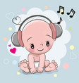 baby with headphones vector image