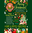 christmas gift and bell greeting banner design vector image
