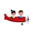 couple flying red plane romantic valentine vector image