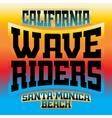 Wave riders t shirt graphics rainbow vector image