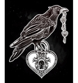 Hand drawn raven bird with heart shaped padlock vector image