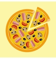 Assorted pizza with mushrooms tomatoes olives vector image