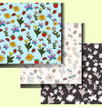 set of summer patterns with flowers and insects vector image