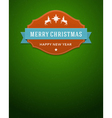 Merry Christmas card label and ribbon vector image vector image
