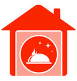 home food symbol with house and dish vector image vector image