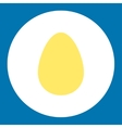 Egg flat yellow and white colors round button vector image