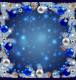 Christmas tree branches around night background vector image