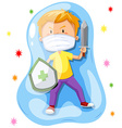 Boy fighting with virus vector image
