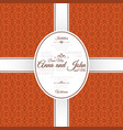 invitation card with orange arabic pattern vector image